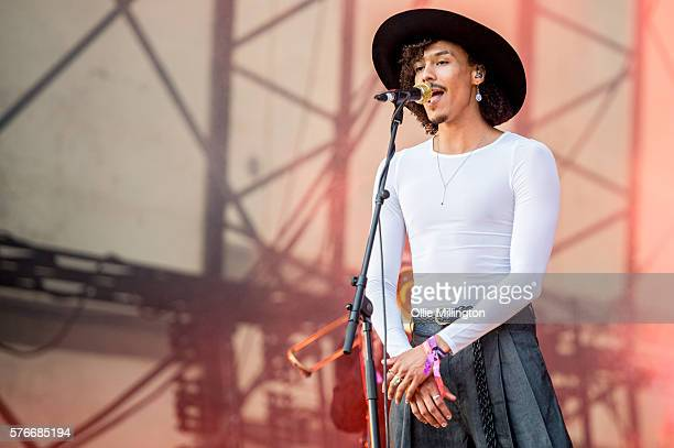 Andro Cowperthwaite of Jungle performs onstage on Day 2 of Lovebox Festival 20016 at Victoria Park on July 16 2016 in London England