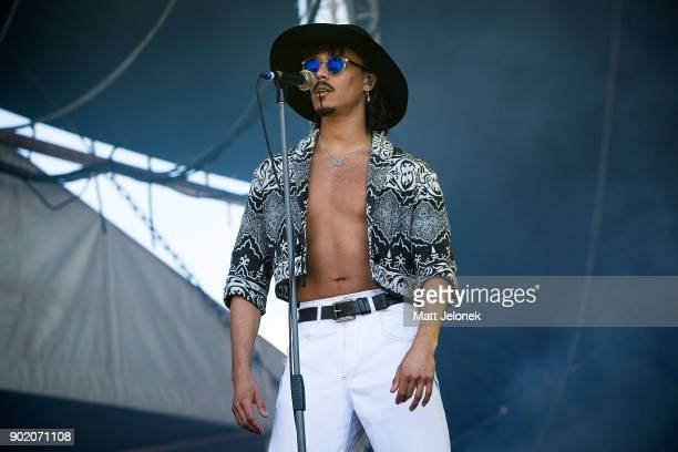 Andro Cowperthwaite of the band Jungle performs at Falls Festival on January 7 2018 in Fremantle Australia