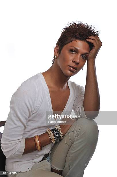androgynous man contemplative - young crossdressers stock photos and pictures