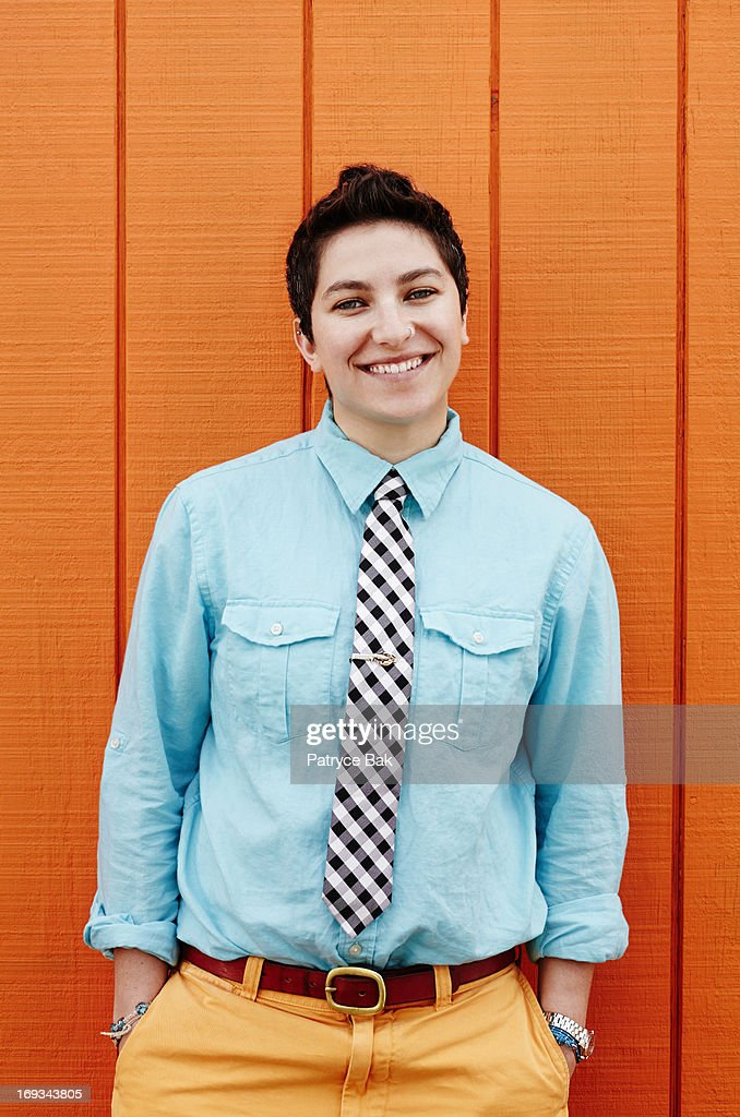 Androgynous New England Style LGBT Hipster Women : Stock Photo