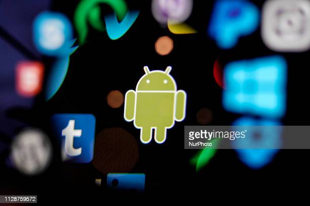A Android logo is seen on a computer screen in this photo illustration in Warsaw Poland on March 5 2019
