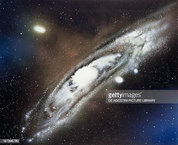 Andromeda Galaxy a spiral galaxy with two small satellite galaxies Drawing