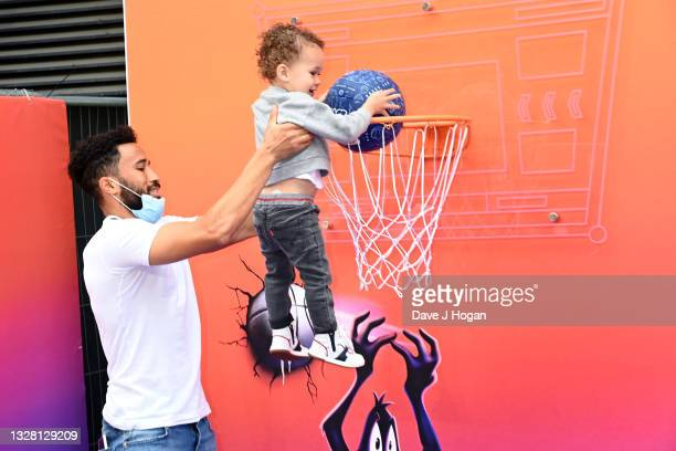 """Andros Townsend and Andros Junior attend a special screening of """"SPACE JAM: A NEW LEGACY"""" in cinemas 16th July at Cineworld Leicester Square on July..."""