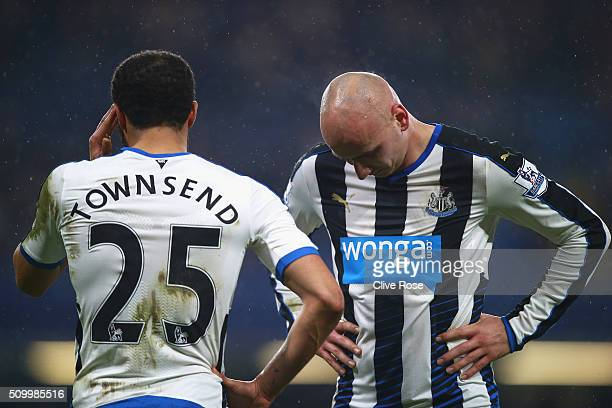 Andros Townsend and Jonjo Shelvey of Newcastle United react during the Barclays Premier League match between Chelsea and Newcastle United at Stamford...