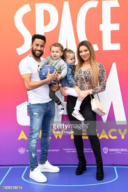 """Andros Townsend, Andros Junior and Aria attend a special screening of """"SPACE JAM: A NEW LEGACY"""" in cinemas 16th July at Cineworld Leicester Square on..."""