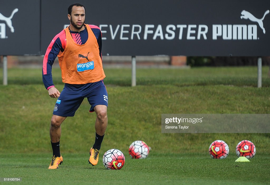 Andros Townsend looks to pass the ball during the Newcastle United training session at The Newcastle United Training Centre on March 12, 2016, in Newcastle upon Tyne, England.