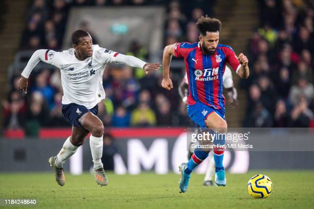 Andros Townsend of Crystal Palace and Georginio Wijnaldum of Liverpool FC during the Premier League match between Crystal Palace and Liverpool FC at...