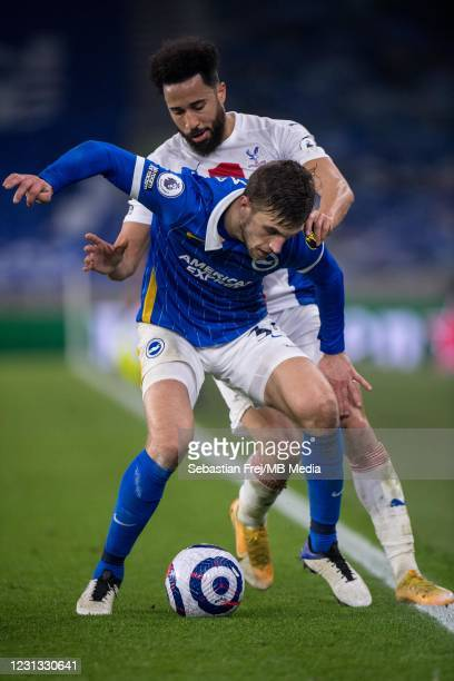 Andros Townsend of Crystal Palace and Joel Weltman of Brighton & Hove Albion in action during the Premier League match between Brighton & Hove Albion...