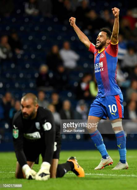 Andros Townsend of Crystal Palace celebrates after scoring his team's third goal during the Carabao Cup Third Round match between West Bromwich...