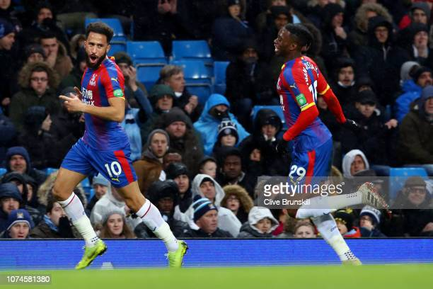 Andros Townsend of Crystal Palace celebrates after scoring his team's second goal with Aaron WanBissaka of Crystal Palace during the Premier League...