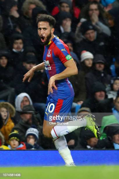 Andros Townsend of Crystal Palace celebrates after scoring his team's second goal during the Premier League match between Manchester City and Crystal...