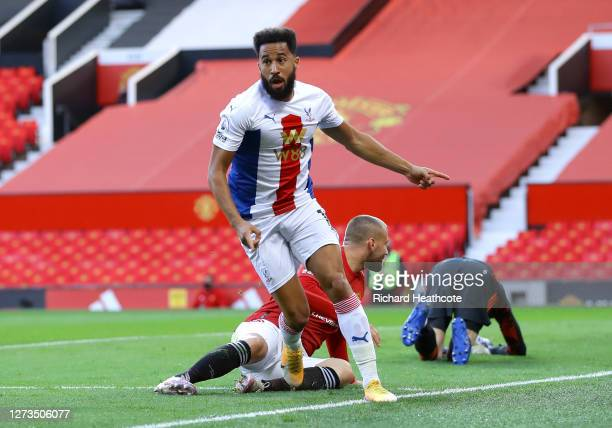 Andros Townsend of Crystal Palace celebrates after scoring his team's first goal during the Premier League match between Manchester United and...