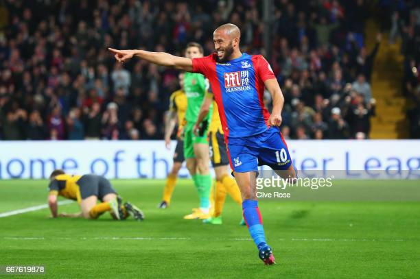 Andros Townsend of Crystal Palace celebrates as he scores their first goal during the Premier League match between Crystal Palace and Arsenal at...