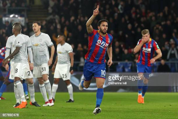 Andros Townsend of Crystal Palace celebrates scoring the first goal during the Premier League match between Crystal Palace and Manchester United at...