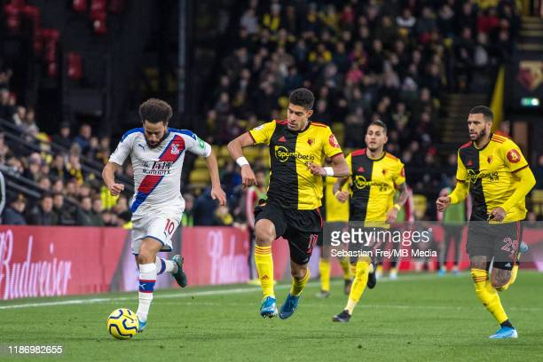 Andros Townsend of Crystal Palace control ball and Adam Masina Roberto Pereyra and Etienne Capoue of Watford FC during the Premier League match...