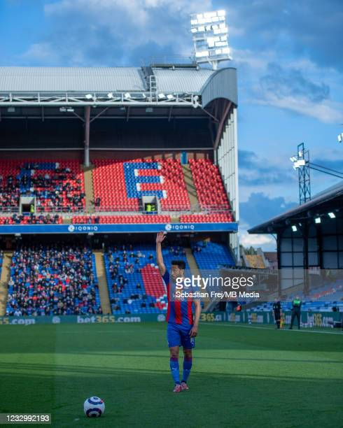 Andros Townsend of Crystal Palace control ball during the Premier League match between Crystal Palace and Arsenal at Selhurst Park on May 19, 2021 in...