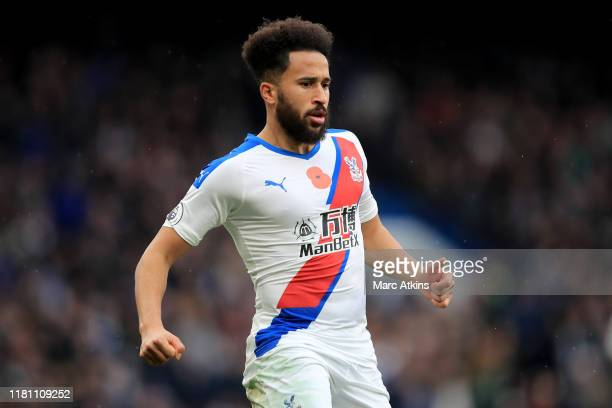 Andros Townsend of Crystal Palace during the Premier League match between Chelsea FC and Crystal Palace at Stamford Bridge on November 9 2019 in...