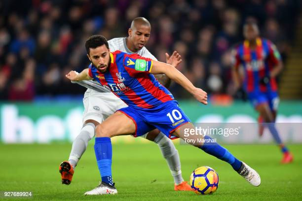 Andros Townsend of Crystal Palace holds of Ashley Young of Manchester United during the Premier League match between Crystal Palace and Manchester...