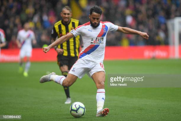 Andros Townsend of Crystal Palace in action during the Premier League match between Watford FC and Crystal Palace at Vicarage Road on August 26 2018...