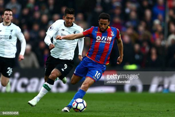 Andros Townsend of Crystal Palace in action during the Premier League match between Crystal Palace and Liverpool at Selhurst Park on March 31 2018 in...