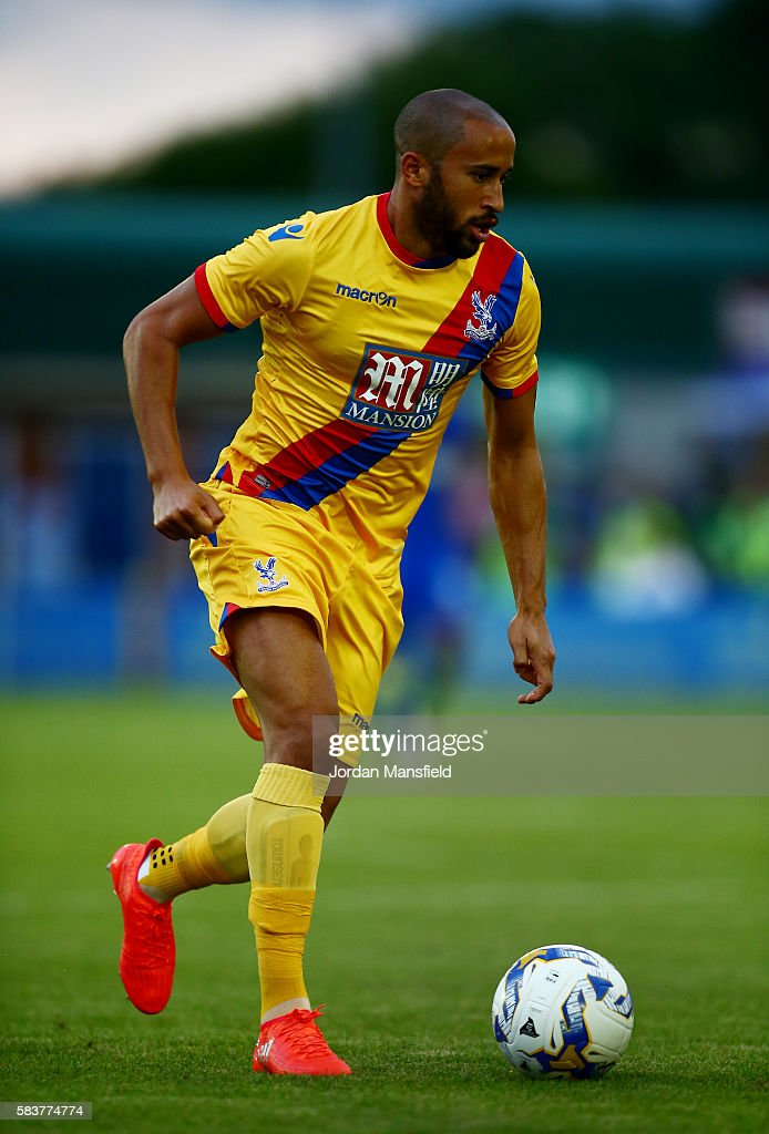 Andros Townsend of Crystal Palace in action during the pre-season friendly between AFC Wimbledon and Crystal Palace at The Cherry Red Records Stadium on July 27, 2016 in Kingston upon Thames, England.