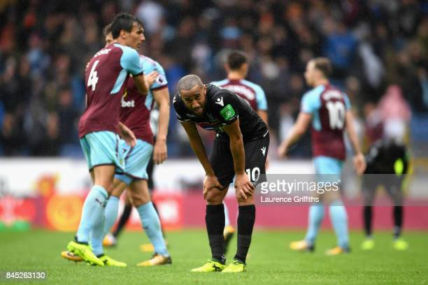 Andros Townsend of Crystal Palace looks dejected following defeat in the Premier League match between Burnley and Crystal Palace at Turf Moor on...