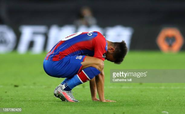 Andros Townsend of Crystal Palace looks dejected following his sides defeat in the Premier League match between Wolverhampton Wanderers and Crystal...