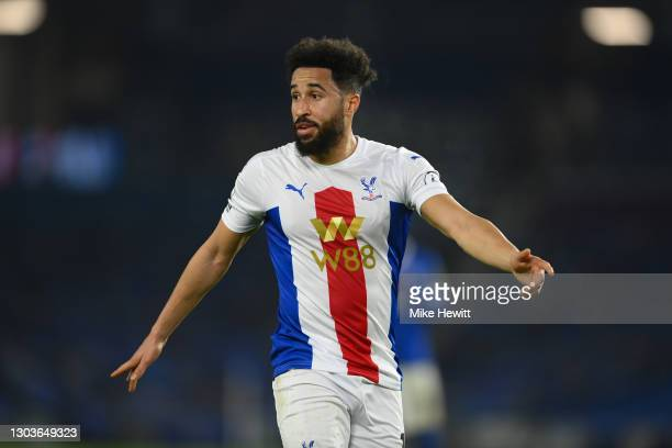 Andros Townsend of Crystal Palace looks on during the Premier League match between Brighton & Hove Albion and Crystal Palace at American Express...