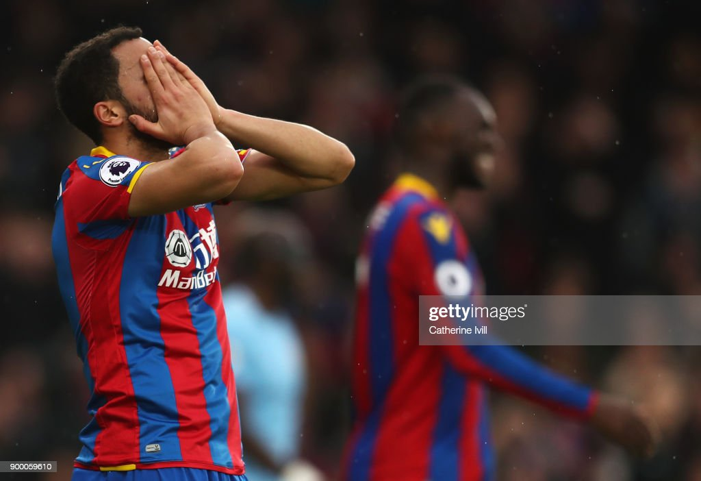 Andros Townsend of Crystal Palace reacts after a miss during the Premier League match between Crystal Palace and Manchester City at Selhurst Park on December 31, 2017 in London, England.
