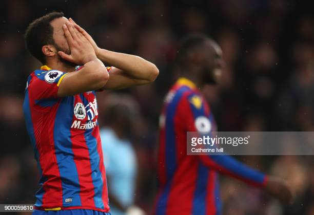 Andros Townsend of Crystal Palace reacts after a miss during the Premier League match between Crystal Palace and Manchester City at Selhurst Park on...