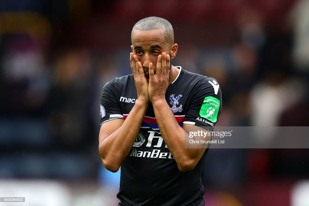 Andros Townsend of Crystal Palace reacts following the Premier League match between Burnley and Crystal Palace at Turf Moor on September 10, 2017 in Burnley, England.