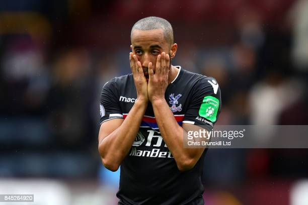 Andros Townsend of Crystal Palace reacts following the Premier League match between Burnley and Crystal Palace at Turf Moor on September 10 2017 in...
