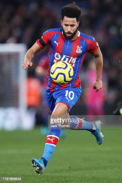 Andros Townsend of Crystal Palace runs with the ball during the Premier League match between Crystal Palace and AFC Bournemouth at Selhurst Park on...