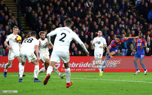 Andros Townsend of Crystal Palace scores his team's second goal during the Premier League match between Crystal Palace and Burnley FC at Selhurst...