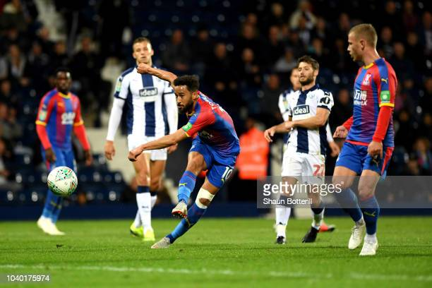 Andros Townsend of Crystal Palace scores his team's third goal during the Carabao Cup Third Round match between West Bromwich Albion and Crystal...