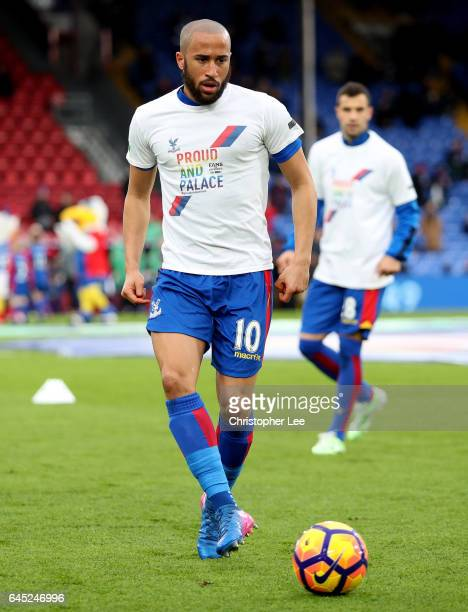 Andros Townsend of Crystal Palace warms up while wearing a Pride and Palace shirt during the Premier League match between Crystal Palace and...