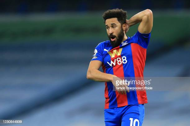 Andros Townsend of Crystal Palace yawns during the Premier League match between Manchester City and Crystal Palace at the Etihad Stadium on January...