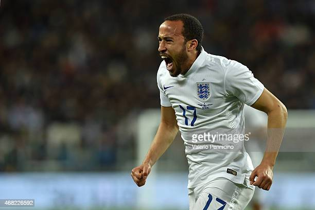 Andros Townsend of England celebrates a goal during the international friendly match between Italy and England at the Juventus Arena on March 31 2015...