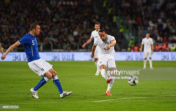 Andros Townsend of England celebrates scores their first goal during the international friendly match between Italy and England at the Juventus Arena...