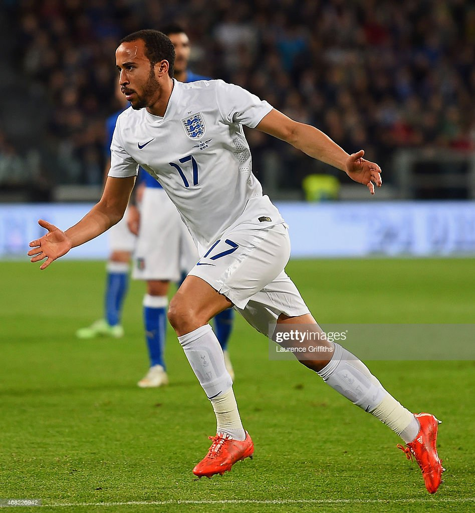 Andros Townsend of England celebrates scoring their first goal during the international friendly match between Italy and England at the Juventus Arena on March 31, 2015 in Turin, Italy.