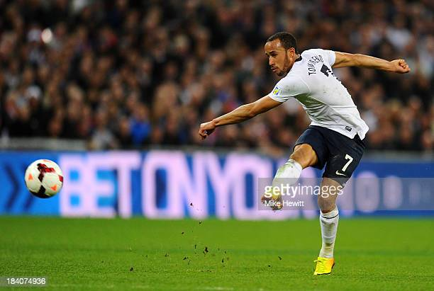 Andros Townsend of England scores their third goal during the FIFA 2014 World Cup Qualifying Group H match between England and Montenegro at Wembley...