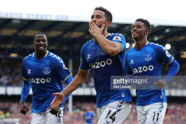 Andros Townsend of Everton celebrates after scoring their side's first goal during the Premier League match between Everton and Norwich City at...