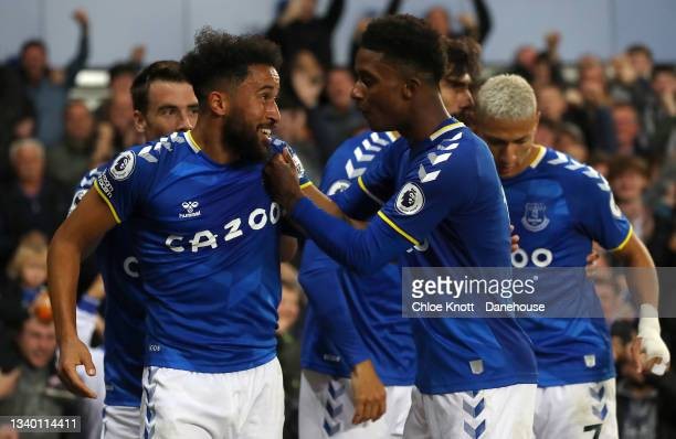 Andros Townsend of Everton celebrates scoring his teams second goal during the Premier League match between Everton and Burnley at Goodison Park on...