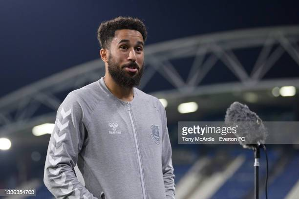 Andros Townsend of Everton speaks to the media after the Carabao Cup Second Round match between Huddersfield Town and Everton at John Smiths Stadium...