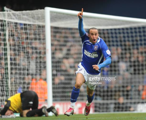 Andros Townsend of Ipswich Town celebrates after scoring the 1st goal during the npower Championship match between Ipswich Town and Swansea City at...