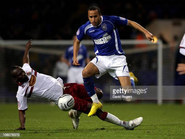 Andros Townsend of Ipswich Town moves away from Abdul Osman during the Carling Cup fourth round match between Ipswich Town and Northampton Town at...
