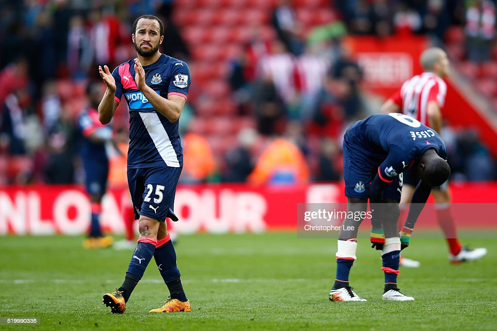 Andros Townsend of Newcastle United applauds away supporters after his team's 1-3 defeat in the Barclays Premier League match between Southampton and Newcastle United at St Mary's Stadium on April 9, 2016 in Southampton, England.