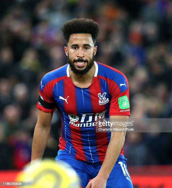 Andros Townsend of Palace grits his teeth after knocking the ball out of play during the Premier League match between Crystal Palace and AFC...