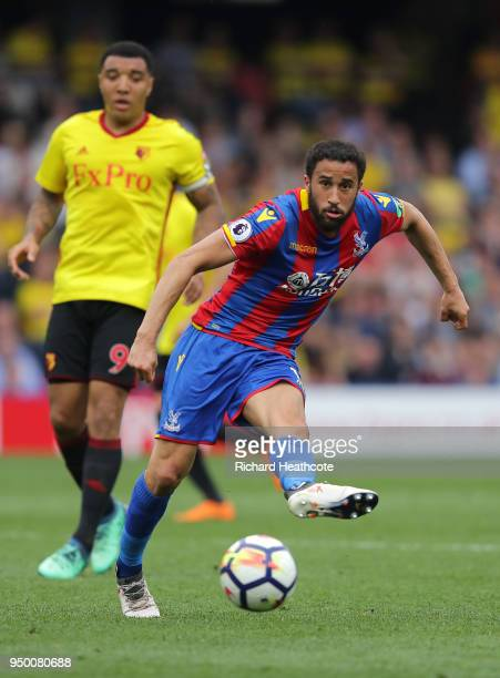 Andros Townsend of Palace in action during the Premier League match between Watford and Crystal Palace at Vicarage Road on April 21 2018 in Watford...