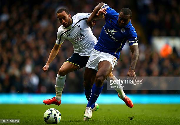 Andros Townsend of Spurs battles for the ball with Wes Morgan of Leicester City during the Barclays Premier League match between Tottenham Hotspur...